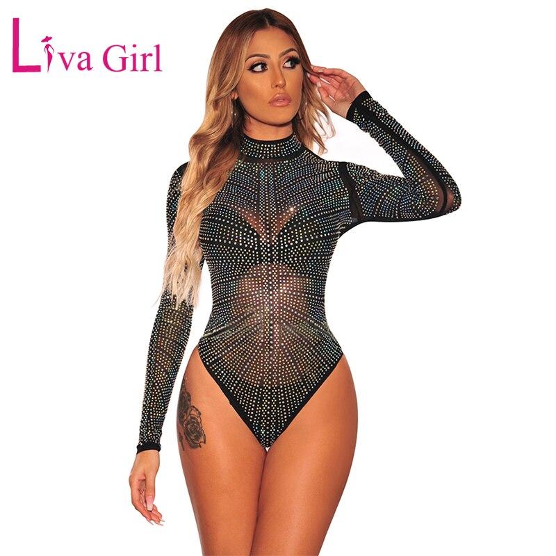 LIVA GIRL Black Iridescent Silver Rhinestone Studded Bodysuit For Women 2019 Sexy Sheer Mock Neck Long Sleeve Bodycon Bodysuits