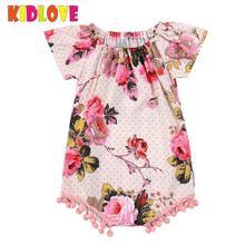 KIDLOVE Summer Baby Girl Infant Flower Print Romper Crew Neck Jumpsuit with Small Pink Balls Pompon Pendant ZK30