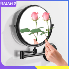 Bathroom Mirrors Black Stainless Steel Toilet Cosmetic Mirror Wall Mounted 8 inch Round Folding Make Up Mirror Magnifying 2 Face недорого