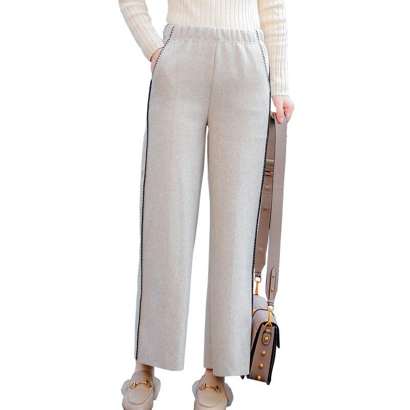 Con Elástico Invierno Mujeres Pantalon Dulce Harajuku Mujer De Cintura 2018 Bordado Otoño Pantalones Beige gray 2 Casual Lana Bolsillo Color E SvZfq