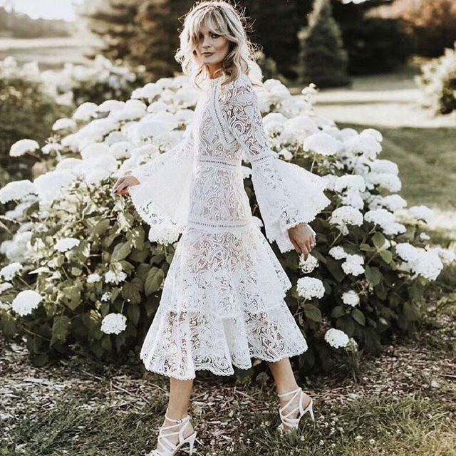 e39085a5823 European High-end White Lace Dress 2019 Spring Women Elegant O-neck Flare  Sleeve Ruffles Layer Midi Dress Runway Dress