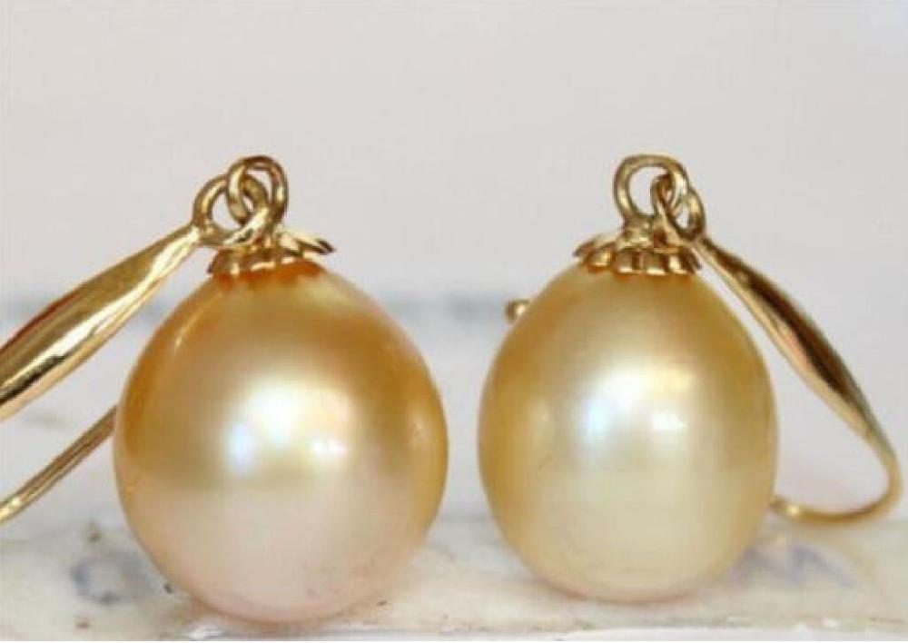 Free Shipping Very Charming A Pair 9 12mm Australian South Sea Yellow Pearl Earring 14kgp Hook V In Drop Earrings From Jewelry Accessories On