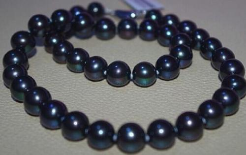 18AAA9.3-10.2mm tahitian natural genuine black blue round pearl necklace