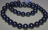 18AAA9.3 10.2mm tahitian natural genuine black blue round pearl necklace