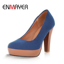 ENMAYER Yellow Black Blue New Fashion Spring Round Toe Womens Shoes High-heel Wedding Party Slip-on Flock Platform Women Pumps