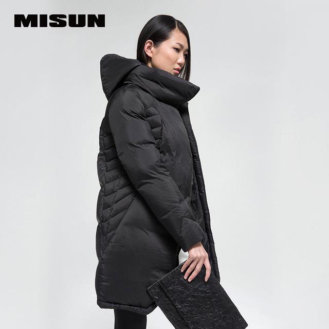 Misun 2016 outono e inverno de moda de médio-longo pele-friendly super macio cor sólida branco pato para baixo casaco espessamento