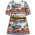 Новый Детское Платье Девушки paysage печать Платья принцессы Приморский лодка платье детская одежда оптом