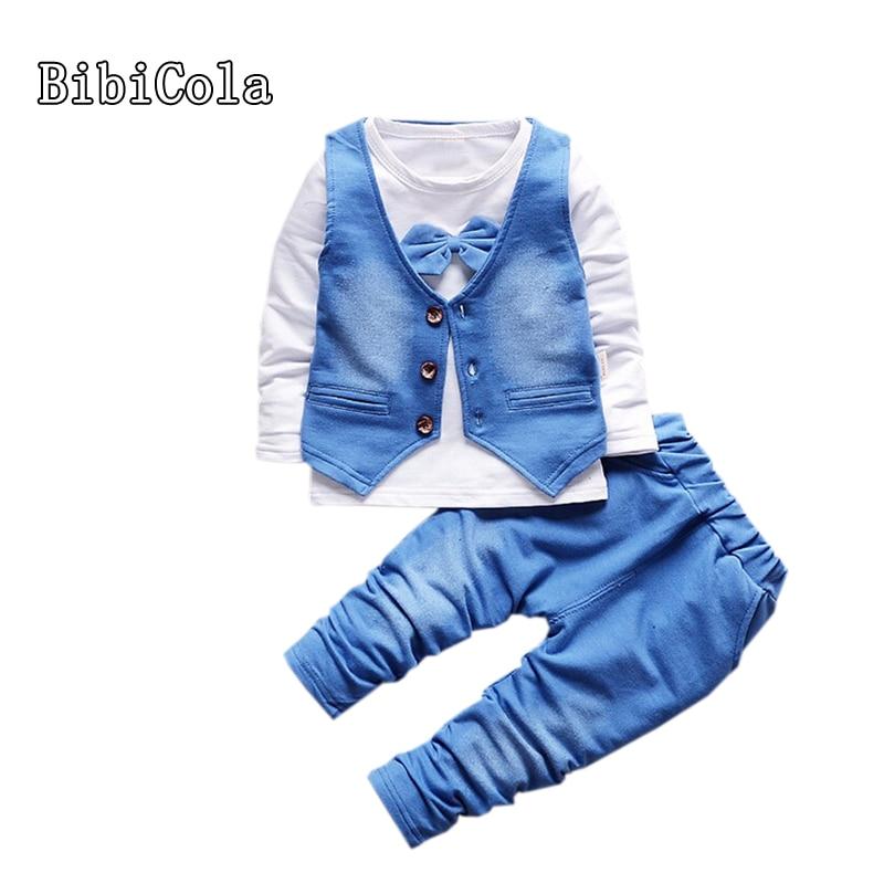 BibiCola Autumn Fashion Infant Clothing Baby Suit Baby Boys Clothes Gentleman Bow T-shirt + Vest + pants Baby Casual Clothes Set