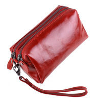 Women S Multi Function Genuine Leather Wallet Cowhide Leather Mobile Phone Clutch Purse Double Zipper Coin