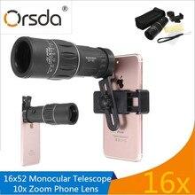 Cheapest prices Orsda 16X52 Telephoto Telescope Camera Lens 16x HD Monocular Telescope Dual Focusing Adjustment Smartphones Lenses for iphone 7