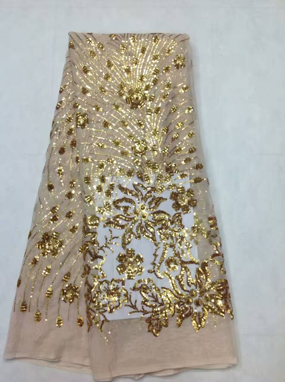 Wholesale purple lace fabric african french sequin lace fabric with sequins embroidery for party dressJL1065