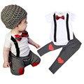 Летом джентльмен мальчик комплект одежды бабочка галстук ложные комбинезоны майка + брюки 2 шт. дети костюм небольшая детская комплект