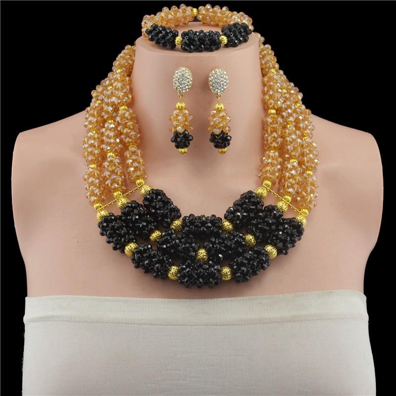 Champagne noir cristal Choker femmes collier ensemble couleur or Stand nigérian mariée cadeau bijoux livraison gratuite WD919
