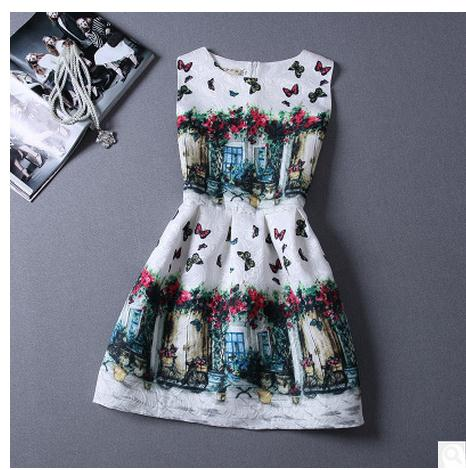 3343cf4c5e3f Women Summer Sleeveless Retro Ball Gown Dress Flower Butterfly Print Round  Neck Fashion Mini Dress Vintage Vestido K266-in Dresses from Women s  Clothing on ...