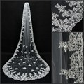 Veu De Noiva Longo 3 Meters Appliqued Lace Edge Bridal Veil White Ivory Wedding Accessories Cathedral Wedding Veil