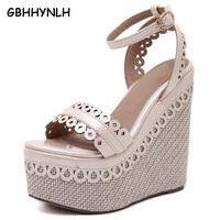 GBHHYNLH platform sandals wedges shoes for women sandals wedges pumps open toe purple nude heels ladies Wedges sandals LJA202