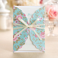 50pcs Blue Flower Pattern Marriage Wedding Invitations Cards Greeting Card 3D Card Laser Cut Postcard Event Party Supplies