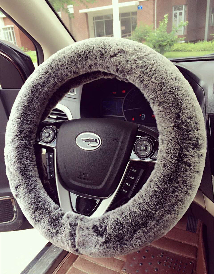 Black Grey Rabbit Fur Car Steering Wheel Cover Winter Warm Soft Plush Hot Sales!