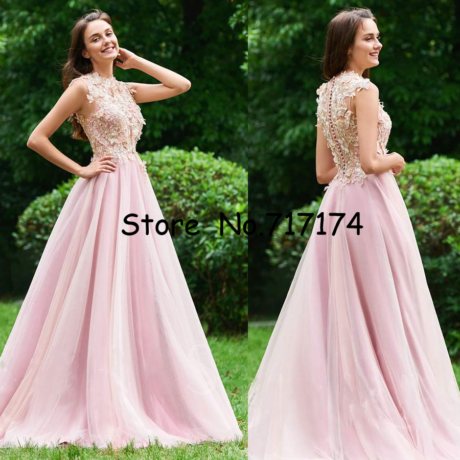 3D-flowers High Neckline Tulle Long   Prom     Dress   with Lace Applique Beading Button Back Floor Length A-line Evening Party   Dress