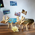 DIY Creative Desk Lights Led Lighting Fixtures Modern led night Lamp Wood + glass Shade for Children Kids baby Led Night Lights