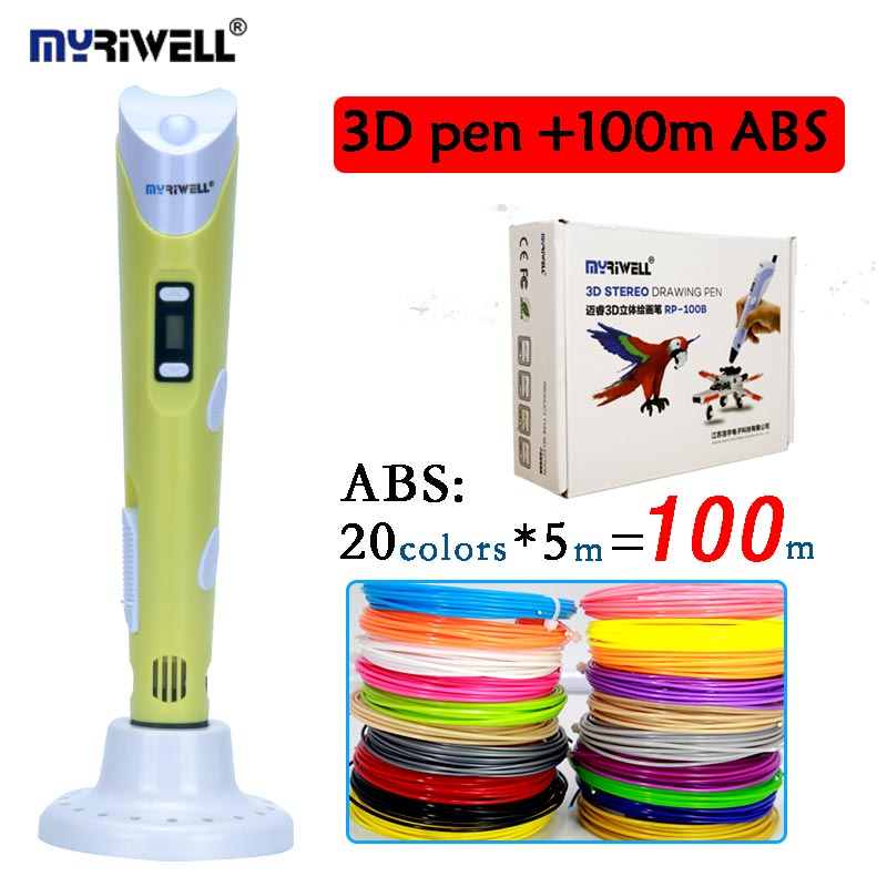 Original myriwell 3D pen RP-100B add 20colors 100meter ABS LCD display kids diy drawing pen birthday gift creative 3D printer