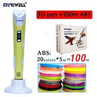 Originale myriwell 3D penna RP-100B aggiungere 20 colori 100 metro ABS display LCD per bambini fai da te disegno a penna regalo di compleanno creativo stampante 3D