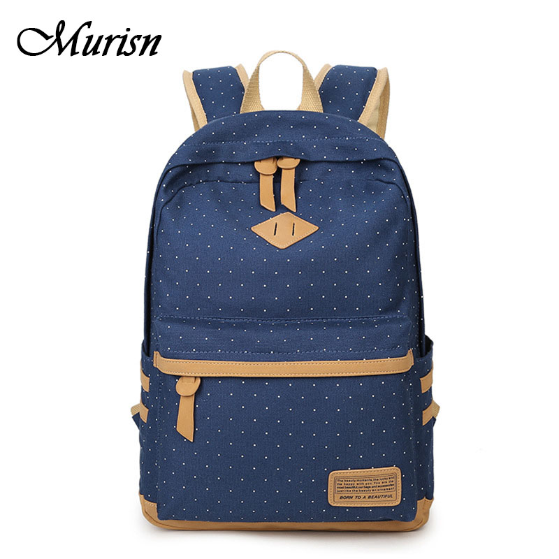 Canvas Backpack Feminine Fashion Girl Bagpack Dot Backpacks For Teenage Girls School Backpack Female Teenagers Women