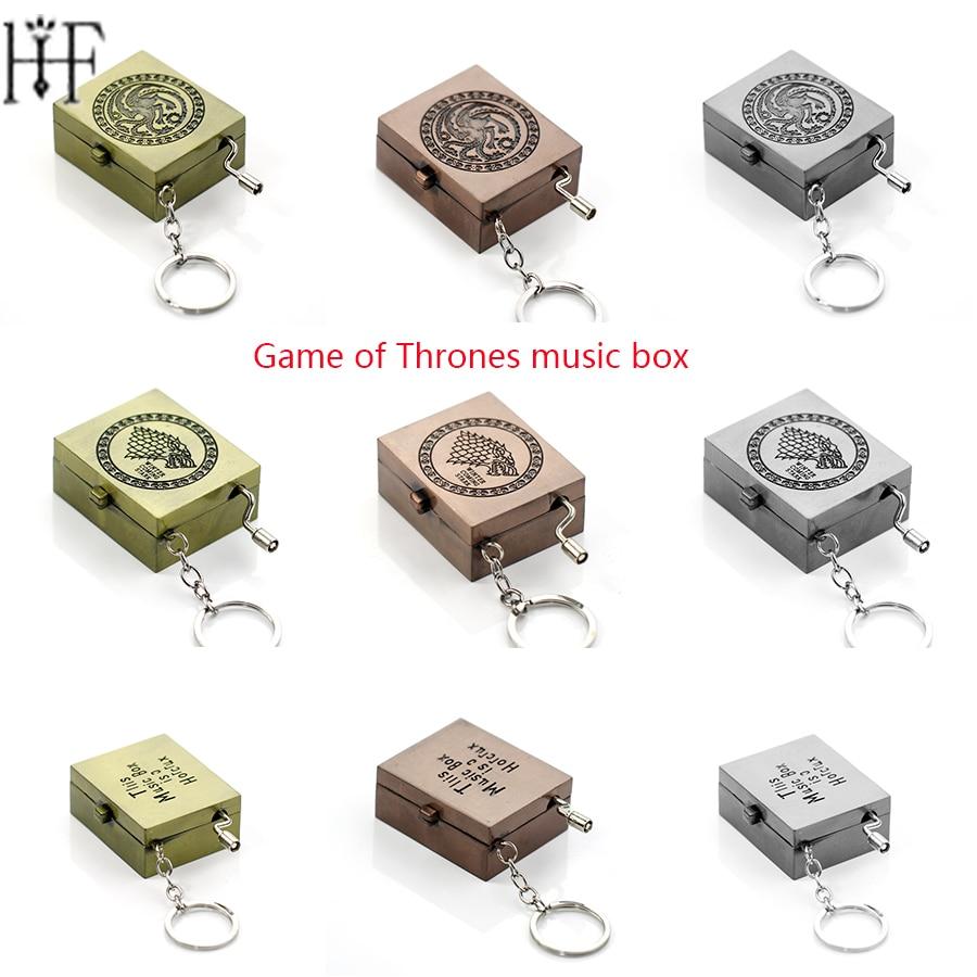 Game Of Thrones Music Box Keychain Daenerys House Targaryen Stark Dragon Wolf Key Chain Zinc Alloy Metal Music Box Hogwarts