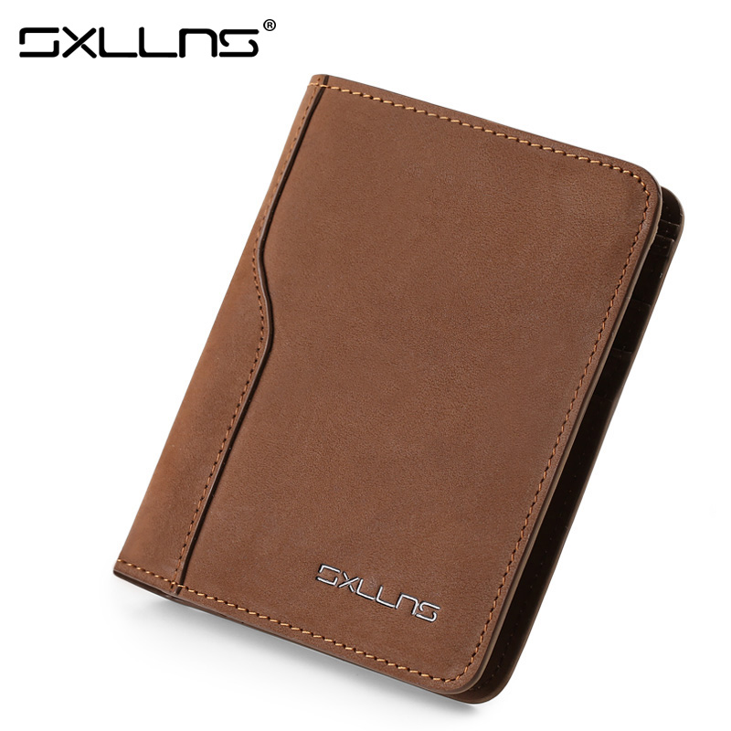 ФОТО Man Wallet Sxllns Brand Mens Wallet Leather Genuine Men's Vintage Purse High Quality Cowhide Credit Card Holder Hot Men Wallet