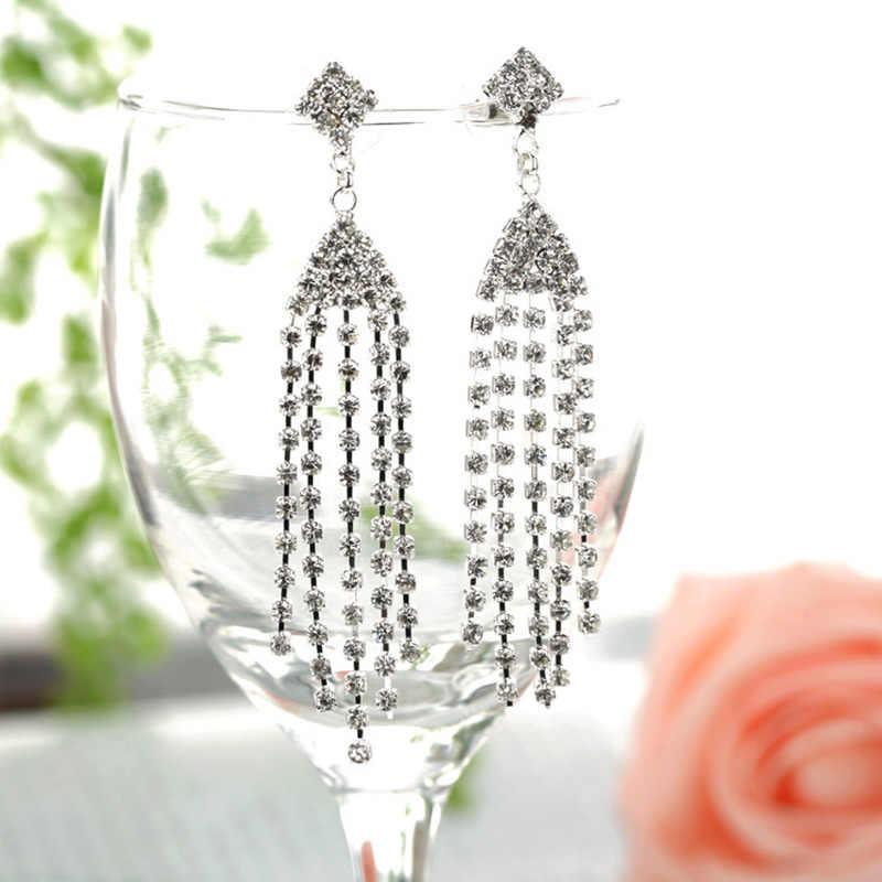 YFJEWE marque Design nouveau gland de luxe longue boucle d'oreille gemme strass boucles d'oreilles de haute qualité femmes cadeau de noël bijoux # E246