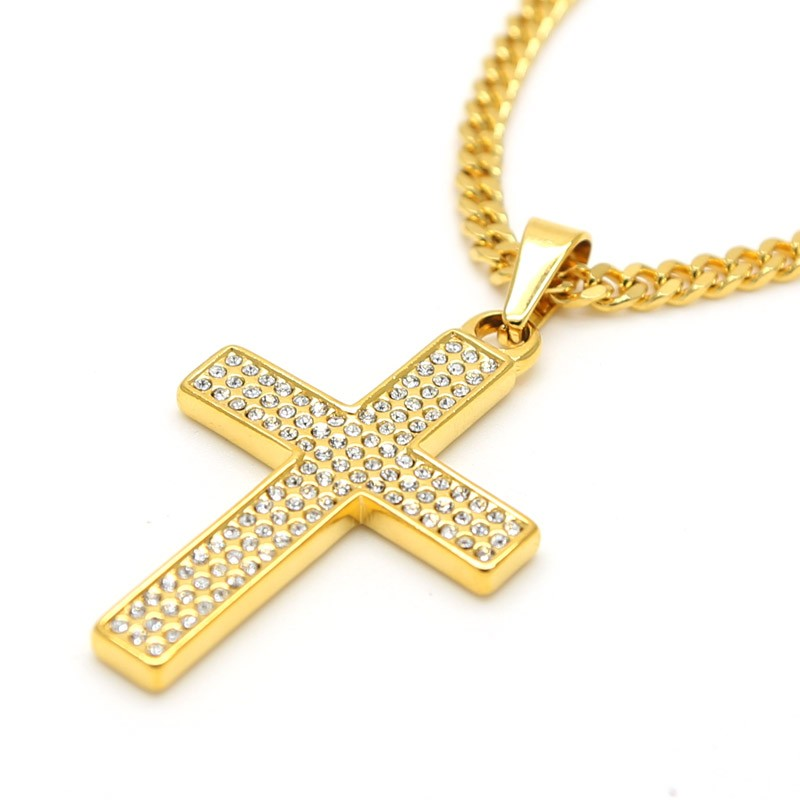 Mens jesus cross necklace cross pendant necklace trendy golden flat mens jesus cross necklace cross pendant necklace trendy golden flat chain mens bling cz iced out crystal jewelry in pendant necklaces from jewelry mozeypictures Images