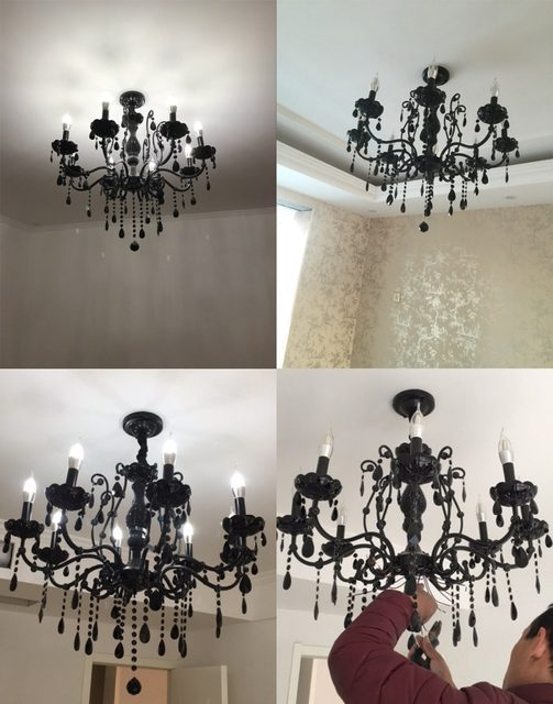 Modern Black Chandelier Bedroom Classical Crystal Chandeliers Vintage China  Lighting Wrought Iron Chandelier Living Room Lamps
