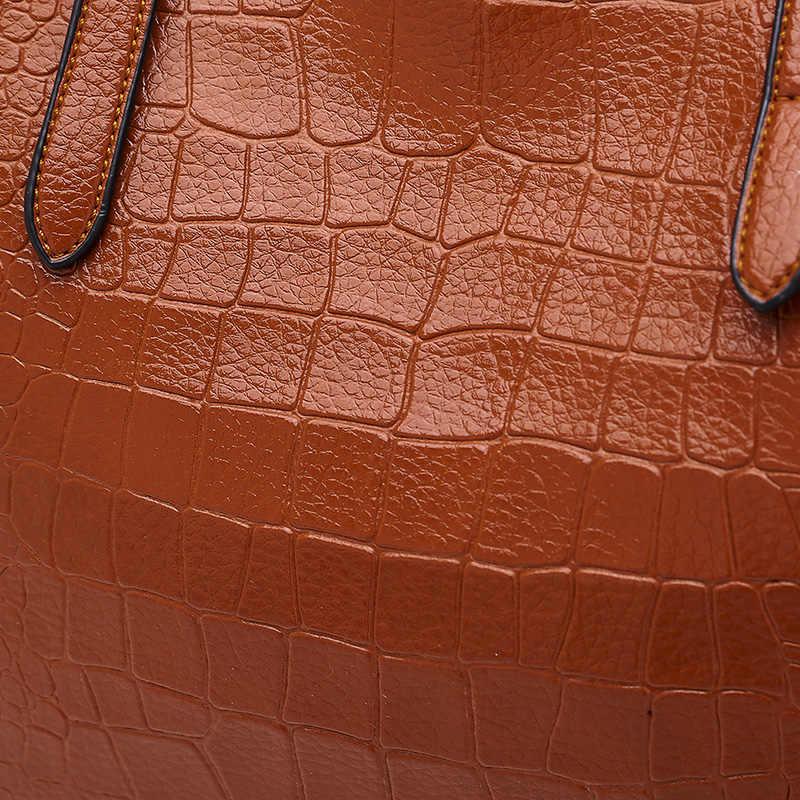 SNBS 100% couro Genuíno Das Mulheres bolsas 2018 Nova Moda de um ombro das senhoras grande saco portátil multi-função de crocodilo padrão