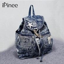 Ipinee Лидер продаж Mochila Feminina женские рюкзак Denim рюкзак для девочек-подростков Vintage дорожная сумка сумки на плечо Mochila Feminina