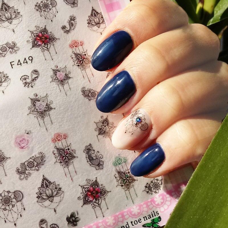 Aliexpress Buy 4 Sheetsset Nail Decal 3d Tips Flower Design