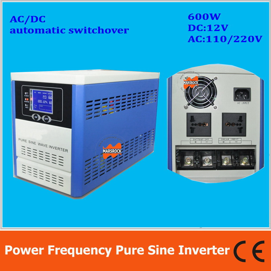 цена на Power frequency pure sine wave 600W solar inverter DC12V to AC110V220V with charger, LCD, AC by Pass, AVR