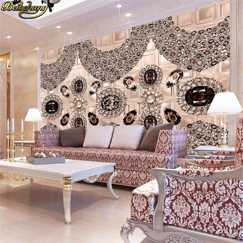 Beibehang Kustom Wallpaper Foto Elat Diamonds Eropa Stereo Perhiasan Ruang Tamu Televisi Latar Belakang Murals Di Dari Perbaikan Rumah