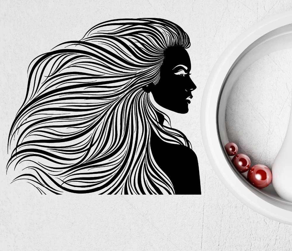 Большие размеры настенные парикмахер Красота Парикмахерская женщина прическа винил Наклейки современный Спальня Книги по искусству надписи обои D255