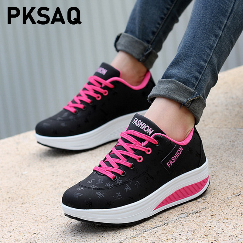 Women Casual Shoes 2019 New Arrival Fashion Pu Leather Breathable Waterproof Wedges Shoes Woman Casual Shoes Women Sneakers
