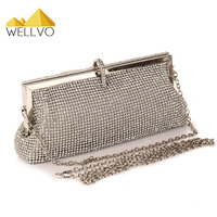 Luxury Ladies Rhinestone Gold Clutch Fashion Women Evening Bag Chain Handbag Bridal Wedding Party Wallet Bolsa