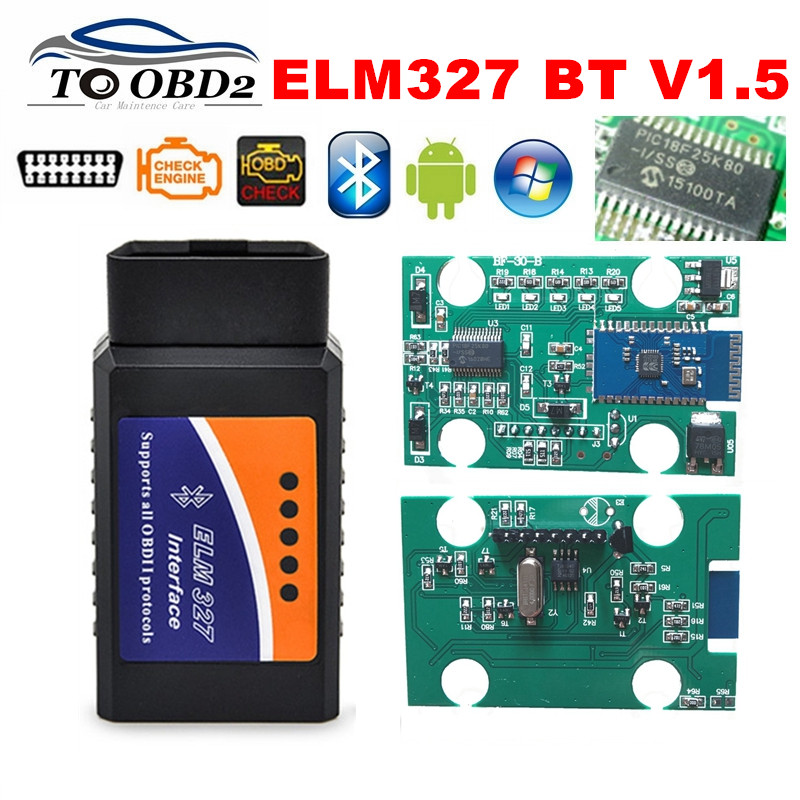 PROMISE 100% V1.5 Hardware 25K80 Chip ELM327 1.5 Bluetooth Works Android Torque ELM 327 V1.5 Supports All OBD2 Protocols