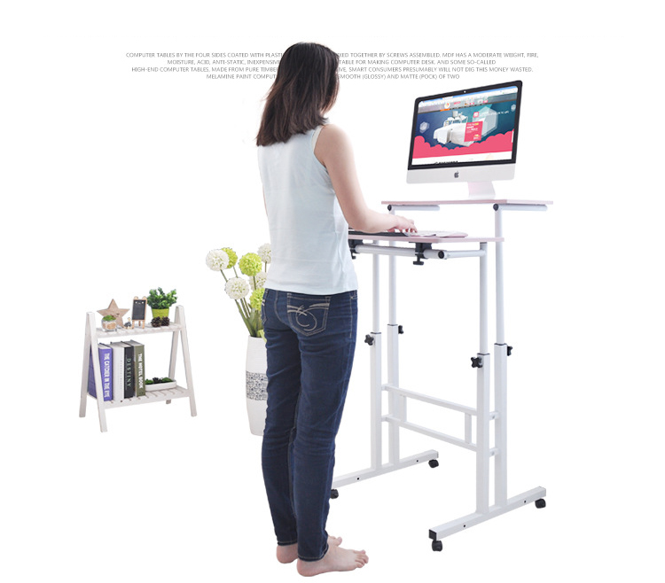 Free Lifting And Moving Sit-Stand Desk TV Mount Office Workstation Computer Table With Universal Wheel And Host Holder glass office table computer desk workstation with suspended cabinet and drawers office furniture hot sale