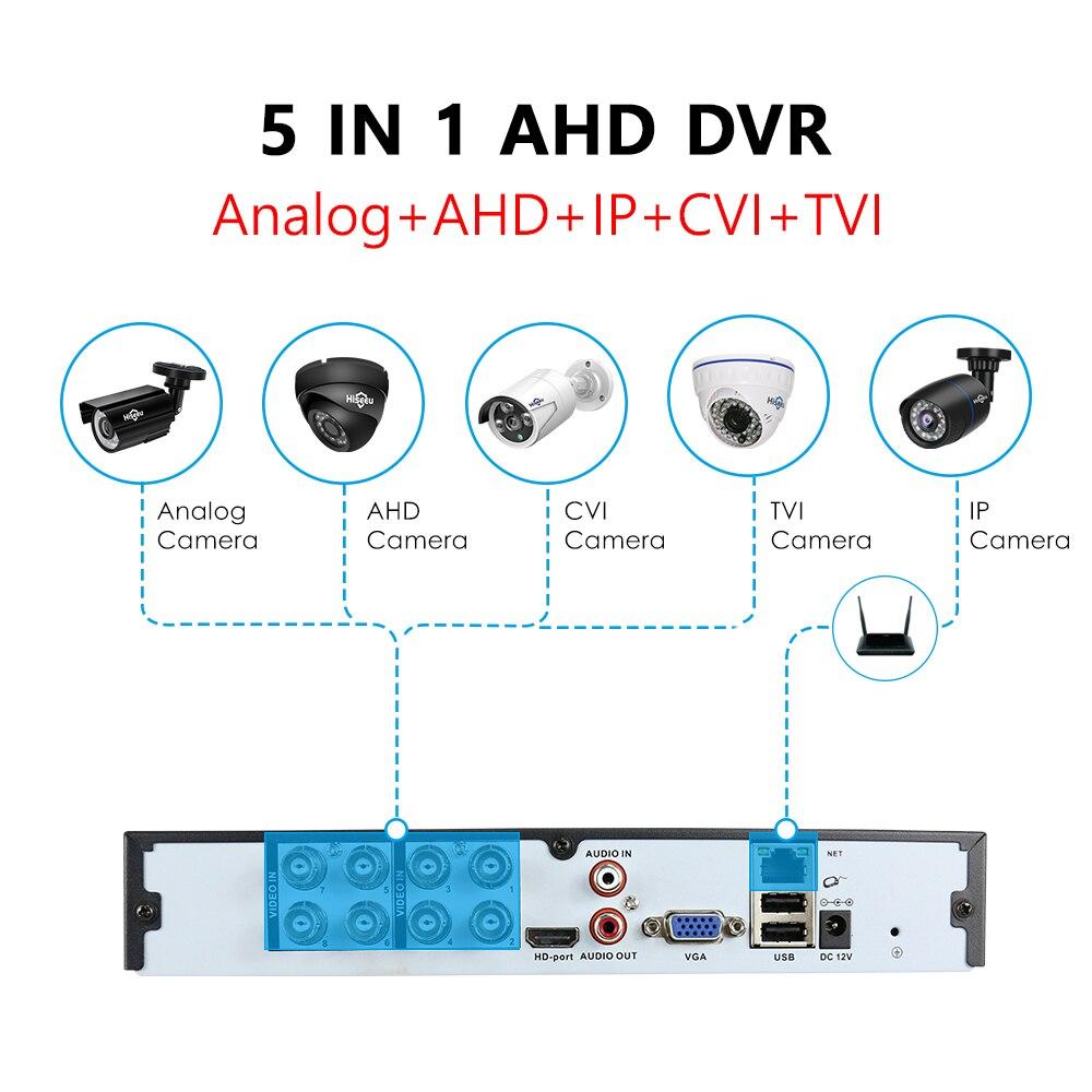 cheapest Hiseeu 4CH 960P 8CH 1080P 5 in 1 DVR video recorder for AHD camera analog camera IP camera P2P cctv system DVR H 264 VGA HDMI