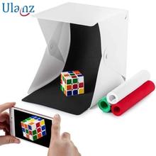 Button Mini Folding Lightbox Photography Studio Softbox LED lightroom Box for iPhone Canon Nikon DSLR Camera