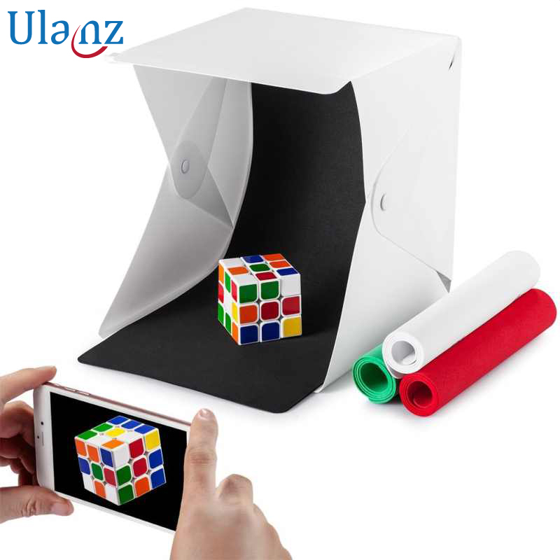 Button Mini Folding Lightbox Photography Studio Softbox LED lightroom Box for iPhone Canon Nikon DSLR Camera Photo Background