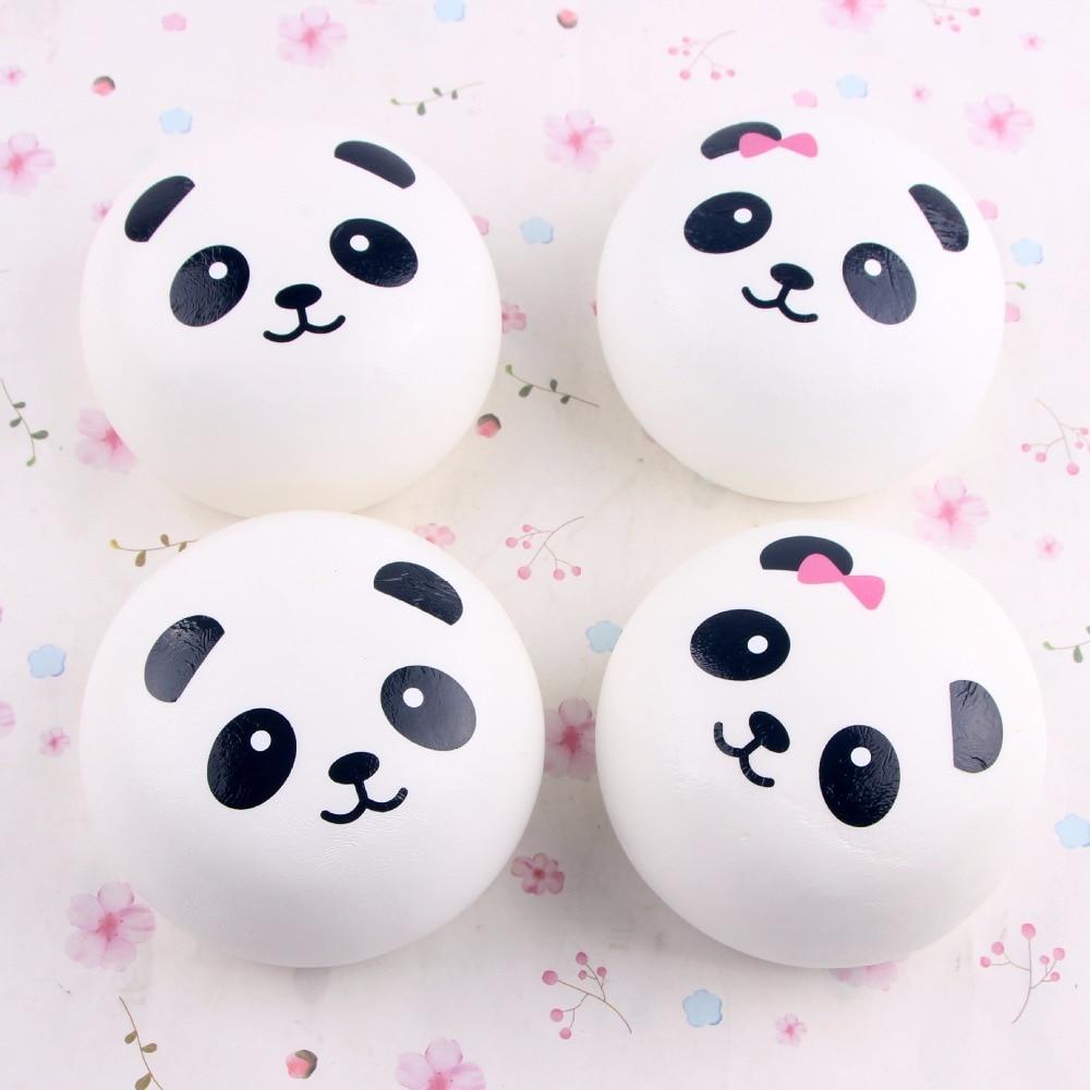 10cm Cute Cartoon Jumbo Chubby Black White Panda Bread Phone Pendant Soft Panda Squishy Head Charms Phone Strap Kitchen Toys Aliexpress