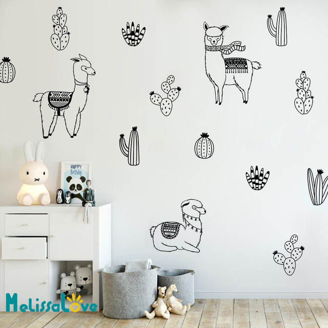 Alpacas And Cacti Wall Decals Kids Room DIY Stickers For Baby Room  Removable Wall Sticker Llama Cute Animal Decoration JW302