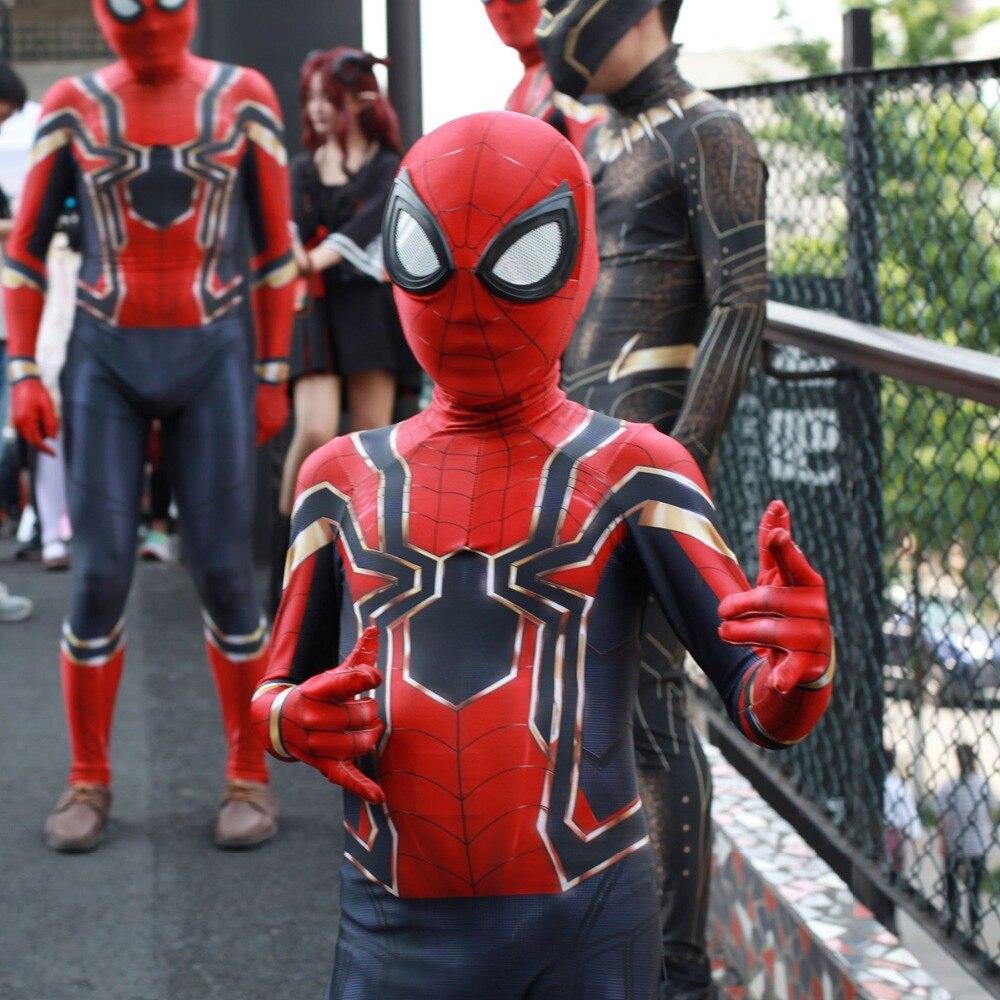 Kids Children Spiderman Movie Avengers Infinity War Cosplay Costume Zentai Iron Spider Man Superhero Bodysuit Halloween Suit