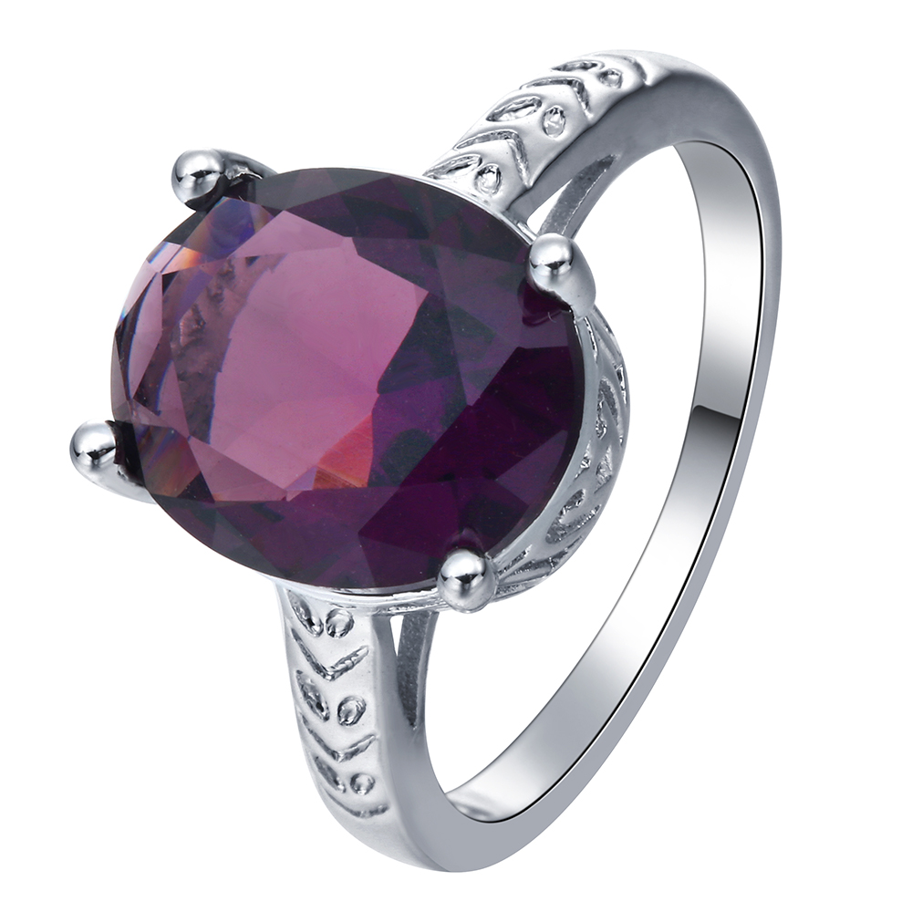luxury purple Cubic Zircon crystal Rings jewelry drop shipping Fashion princess Finger finger Ring for women Favourite Gift