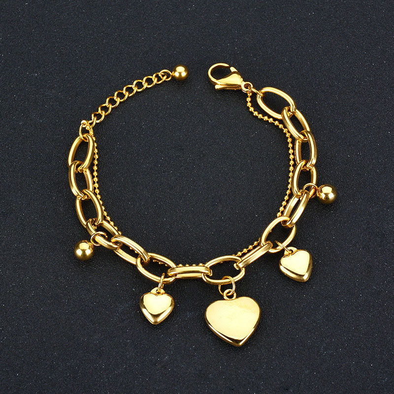 Stainless Steel Love Chain Silver//rose Gold Double Layer Bracelet W Heart Charms
